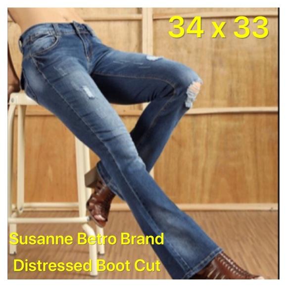 Susanne Beto Denim - Distressed Denim Jeans Bootcut Wide Leg 34 x 33
